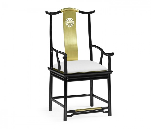 Asian Fusion Black Gloss & Brass Dining Arm Chair, Upholstered in COM
