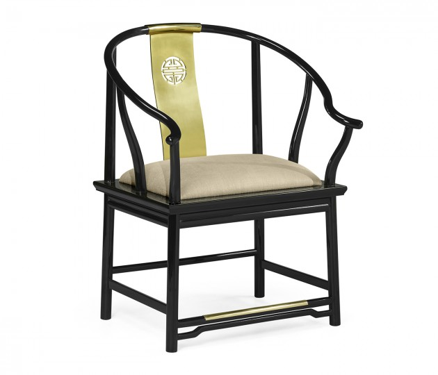 Asian Fusion Rounded Black Gloss & Brass Dining Armchair, Upholstered in MAZO