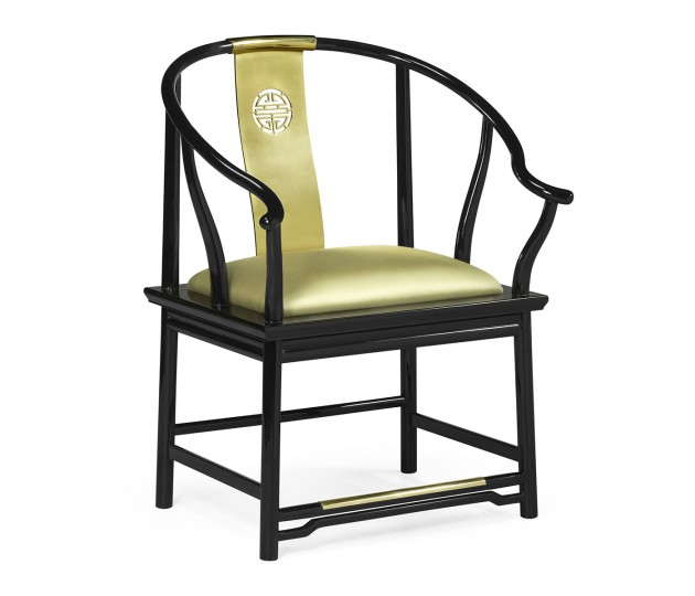 Asian Fusion Rounded Black Gloss & Brass Dining Arm Chair, Upholstered in Gold Silk