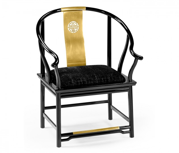 Asian Fusion Rounded Black Gloss & Brass Dining Arm Chair, Upholstered in Capriccio Ebony