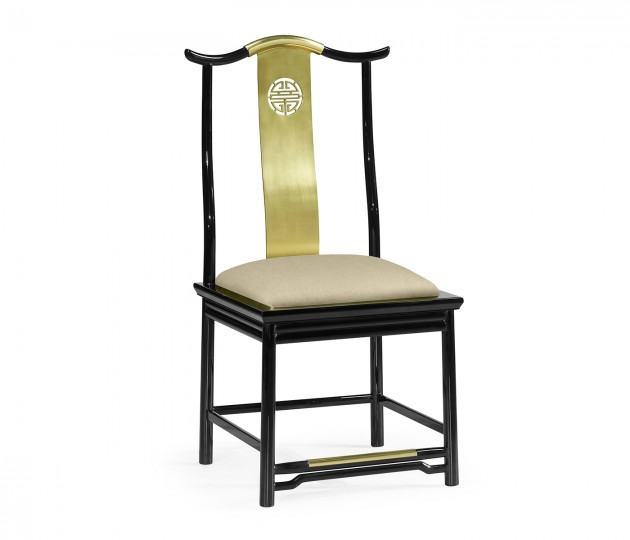 Asian Fusion Black Gloss & Brass Dining Side Chair, Upholstered in MAZO