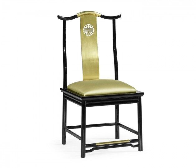 Asian Fusion Black Gloss & Brass Dining Side Chair, Upholstered in Gold Silk