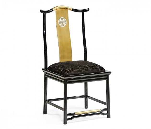 Asian Fusion Black Gloss & Brass Dining Side Chair, Upholstered in Capriccio Ebony