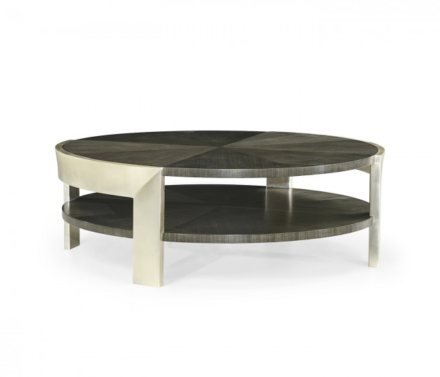 Gatsby Contemporary Round Dark Grey Walnut & Champagne Silver-leaf Coffee Table