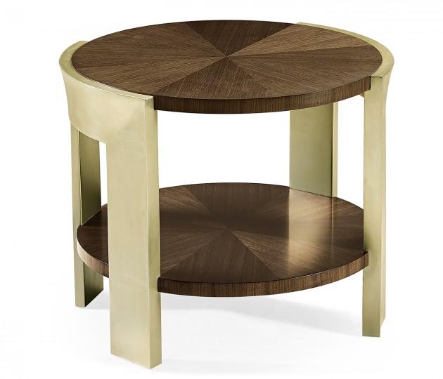 Gatsby Contemporary Round Dark Grey Walnut & Champagne Silver–leaf End Table
