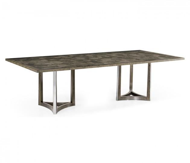 """108"""" Gatsby Contemporary Rectangular Grey Natural Eucalyptus & Stainless Steel Dining Table with Random Cut Top"""