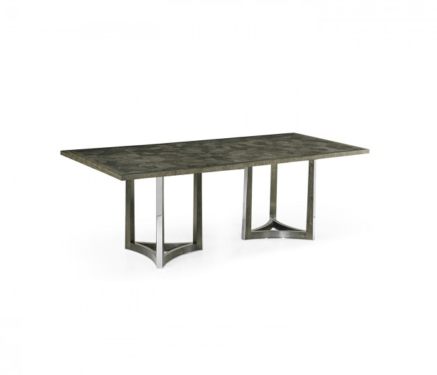 """84"""" Gatsby Contemporary Rectangular Grey Natural Eucalyptus & Stainless Steel Dining Table with Random Cut Top"""