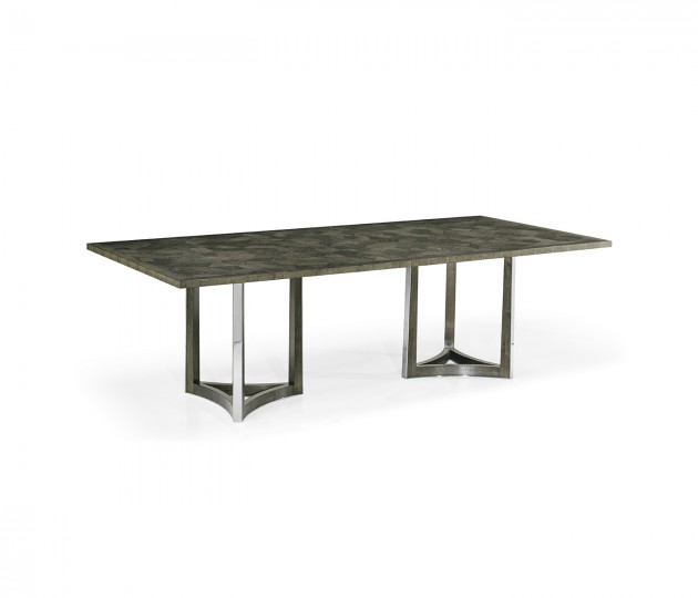"""96"""" Gatsby Contemporary Rectangular Grey Natural Eucalyptus & Stainless Steel Dining Table with Random Cut Top"""