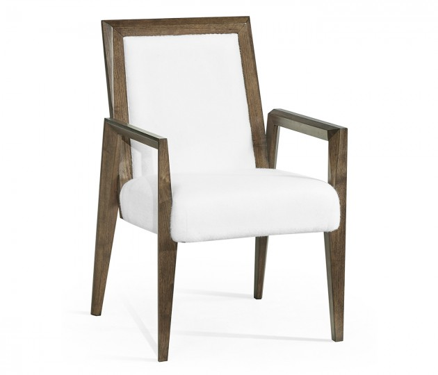 Gatsby Contemporary Dark Grey Walnut Dining Arm Chair, Upholstered in COM by Distributor