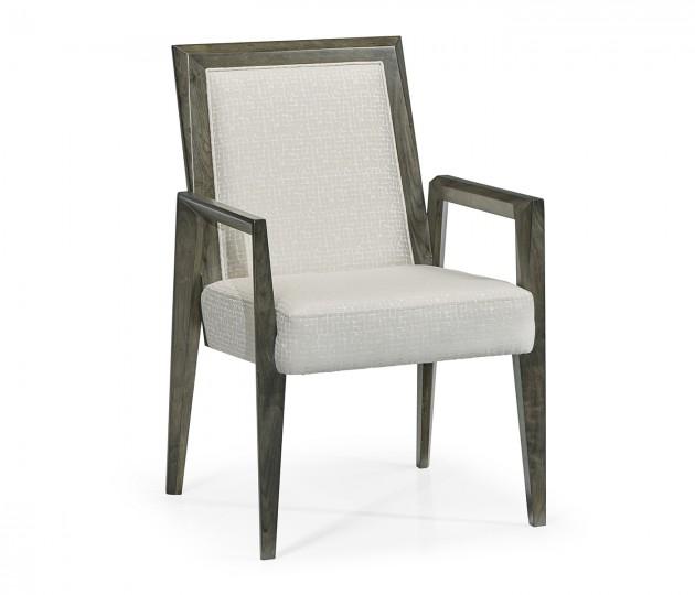 Gatsby Contemporary Dark Grey Walnut Dining Arm Chair, Upholstered in COM