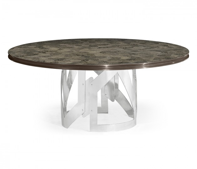 "72"" Gatsby Contemporary Round Grey Natural Eucalyptus & Stainless Steel Dining Table with Random Cut Top"