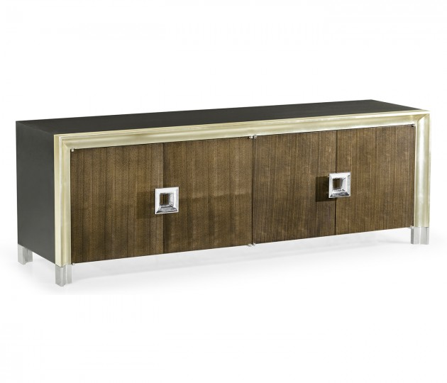 Gatsby Contemporary Dark Grey Walnut & Champagne Silver-leaf Credenza