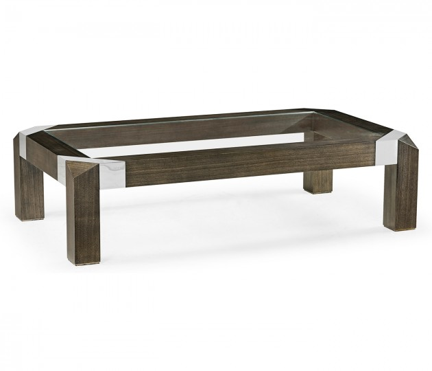 Gatsby Contemporary Rectangular Bevelled Dark Grey Walnut & Stainless Steel Coffee Table with Clear Glass Top