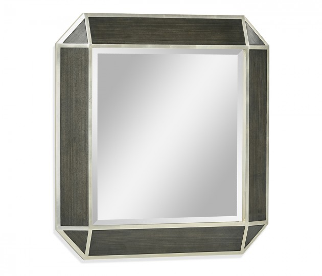 Gatsby Contemporary Square Bevelled Dark Grey Walnut & Champagne Silver-leaf Hanging Mirror