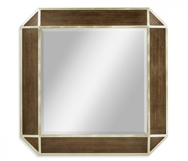 Gatsby Contemporary Square Bevelled Dark Grey Walnut & Champagne Silver-leaf Hanging Mirror