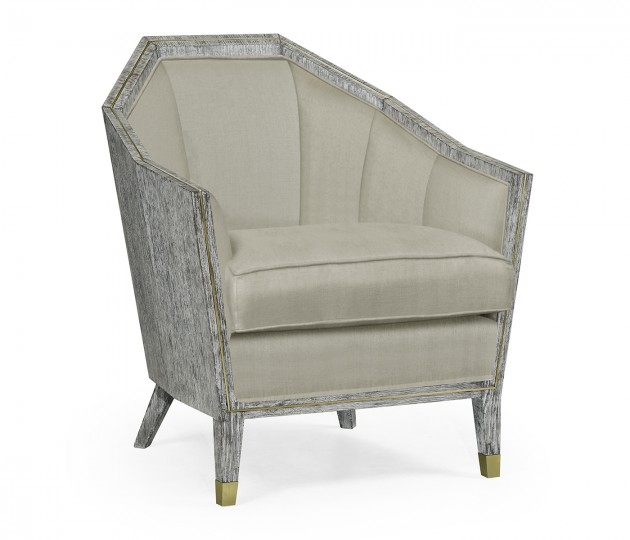 Casual Transitional Dark French Oak Sofa Chair, Upholstered in MAZO