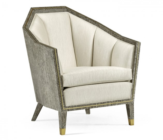 Casual Transitional Dark French Oak Sofa Chair, Upholstered in Castaway