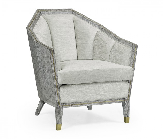 Casual Transitional Dark French Oak Sofa Chair, Upholstered in COM