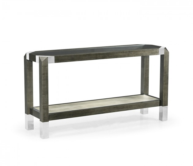 Gatsby Contemporary Bevelled Dark Grey Walnut & Stainless Steel Console Table with Clear Glass Top