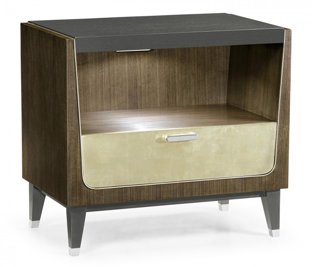 Gatsby Champagne Silver–Leaf Bedside Cabinet