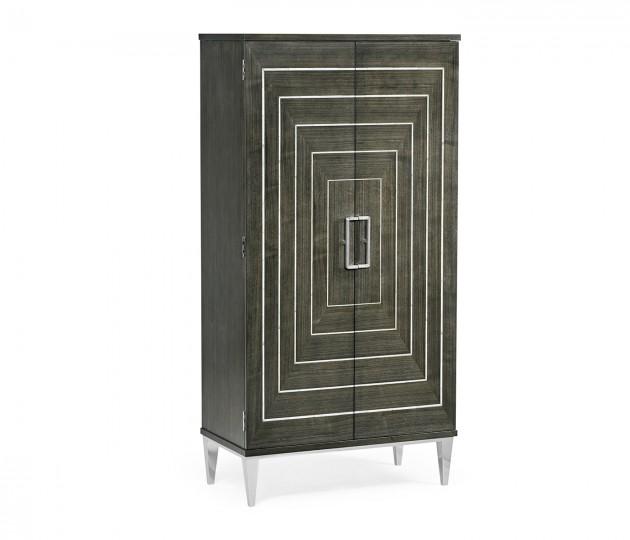 Gatsby Contemporary Dark Grey Walnut & MOP Storage Cabinet