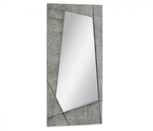 Casual Transitional Rectangular Dark French Oak Floor Standing Mirror