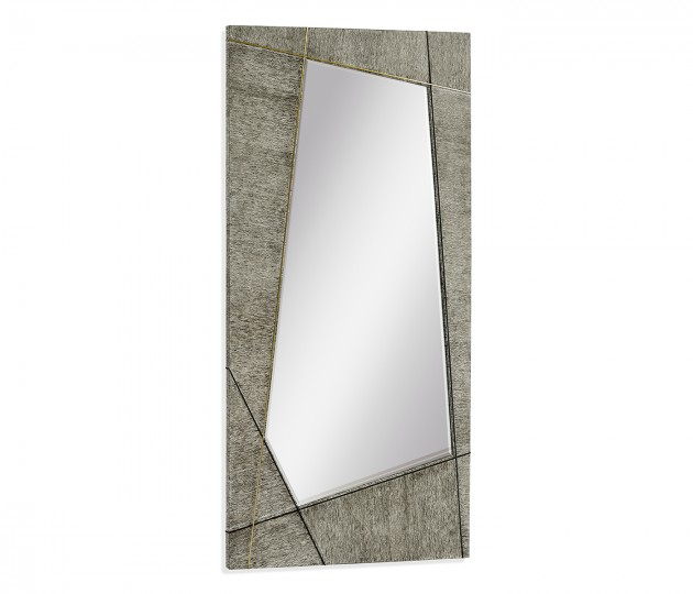 Casual Transitional Rectangular Dark French Oak Floor Standing Mirror