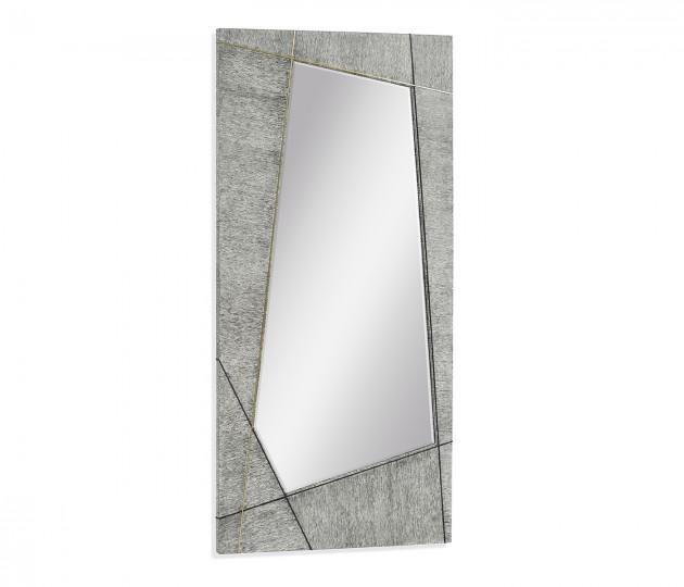 Casual Transitional Rectangular Light French Oak Floor Standing Mirror