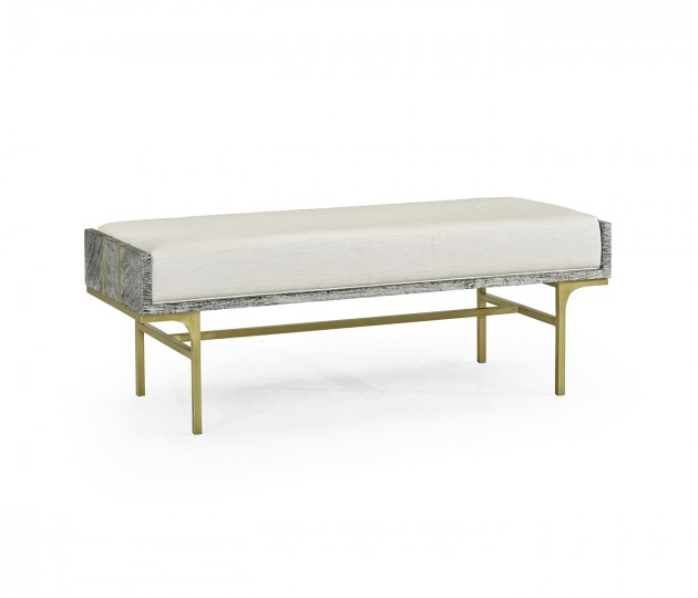Geometric Dark French Oak Bench, Upholstered in COM