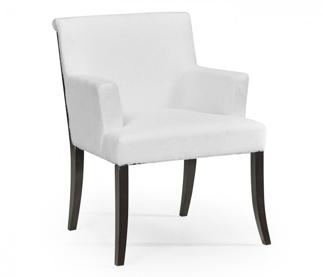 Geometric Black Mocha Oak Dining Arm Chair, Upholstered in COM by Distributor