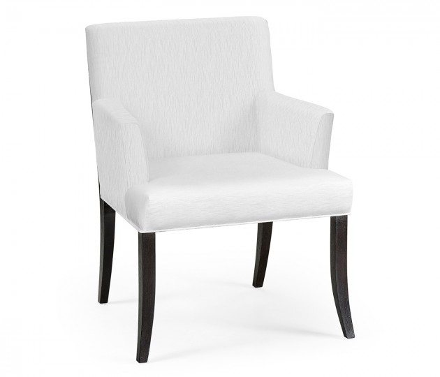 Geometric Black Mocha Oak Dining Arm Chair, Upholstered in COM