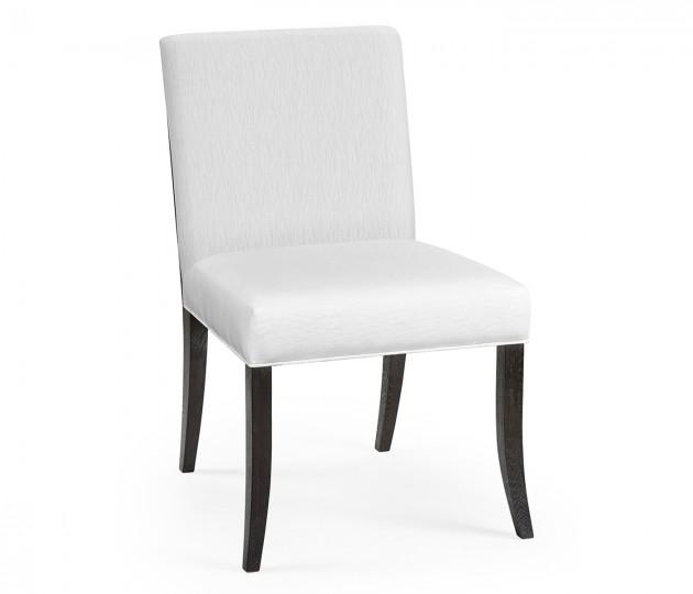 Geometric Black Mocha Oak Dining Side Chair, Upholstered in COM