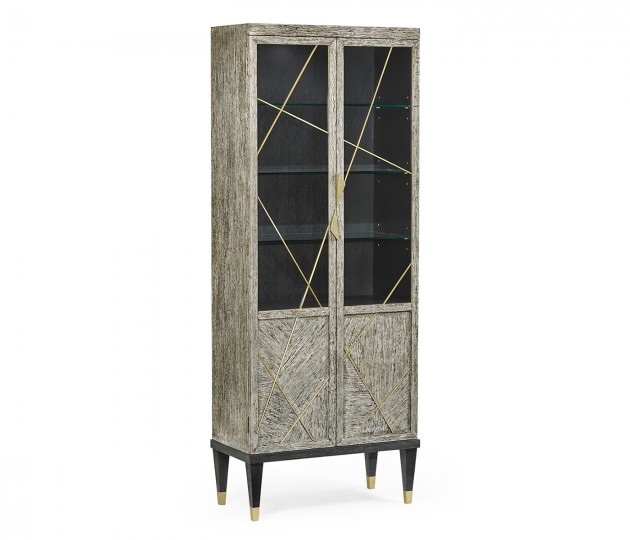 Geometric Dark French Oak Display Cabinet