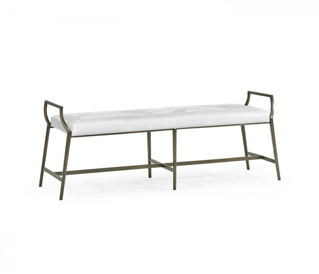 Modern Curved Bronzed Bench, Upholstered in COM