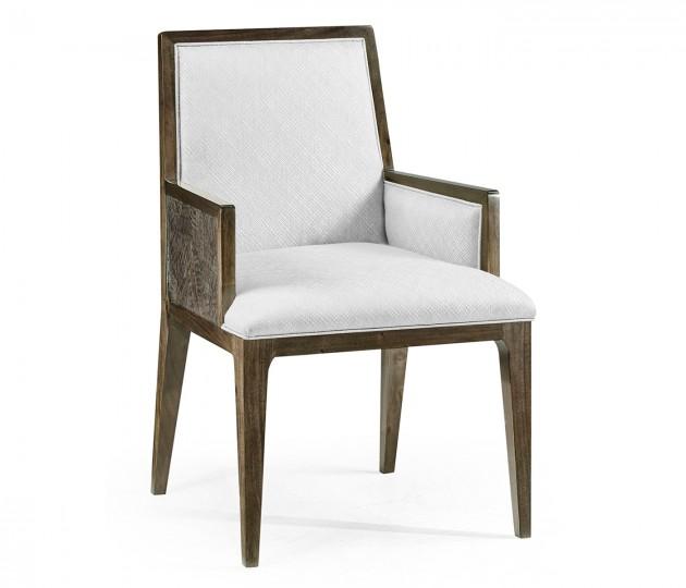 Gatsby Dark Grey Walnut & Random Cut Pattern Dining Arm Chair, Upholstered in COM by Distributor