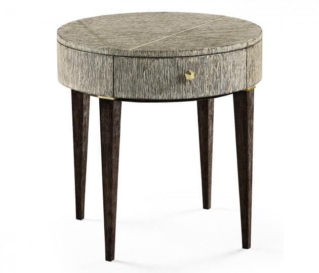 Geometric Circular Dark French Oak End Table with Drawer