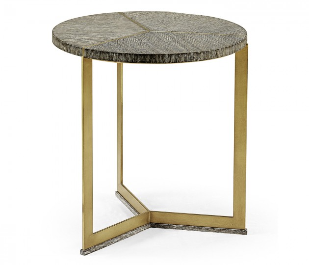 Geometric Round Oak & Brass End Table