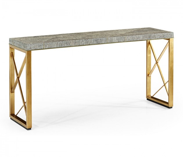 Geometric Dark French Oak & Gilded Console Table