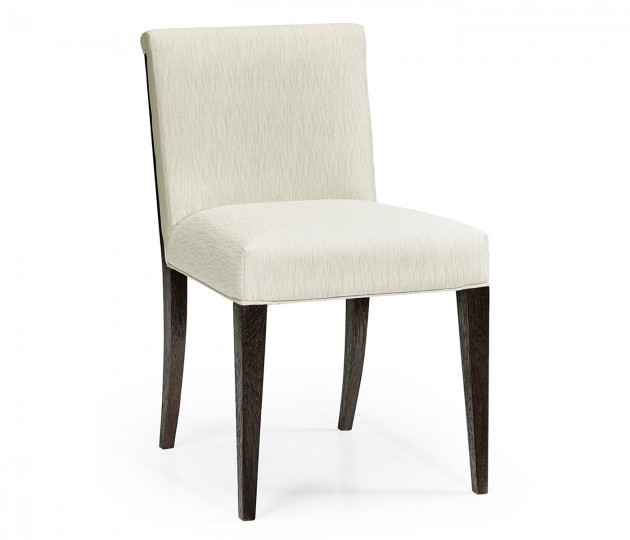 Geometric Dark Mocha Oak Dining Side Chair, Upholstered in Castaway