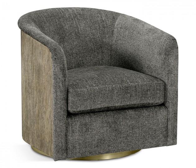 Geometric Dark French Oak Swivel Chair