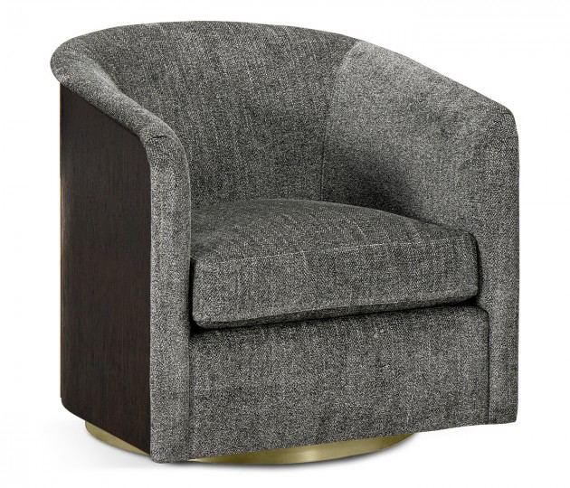 Geometric Dark Mocha Oak Swivel Sofa Chair, Upholstered in Lloyrd