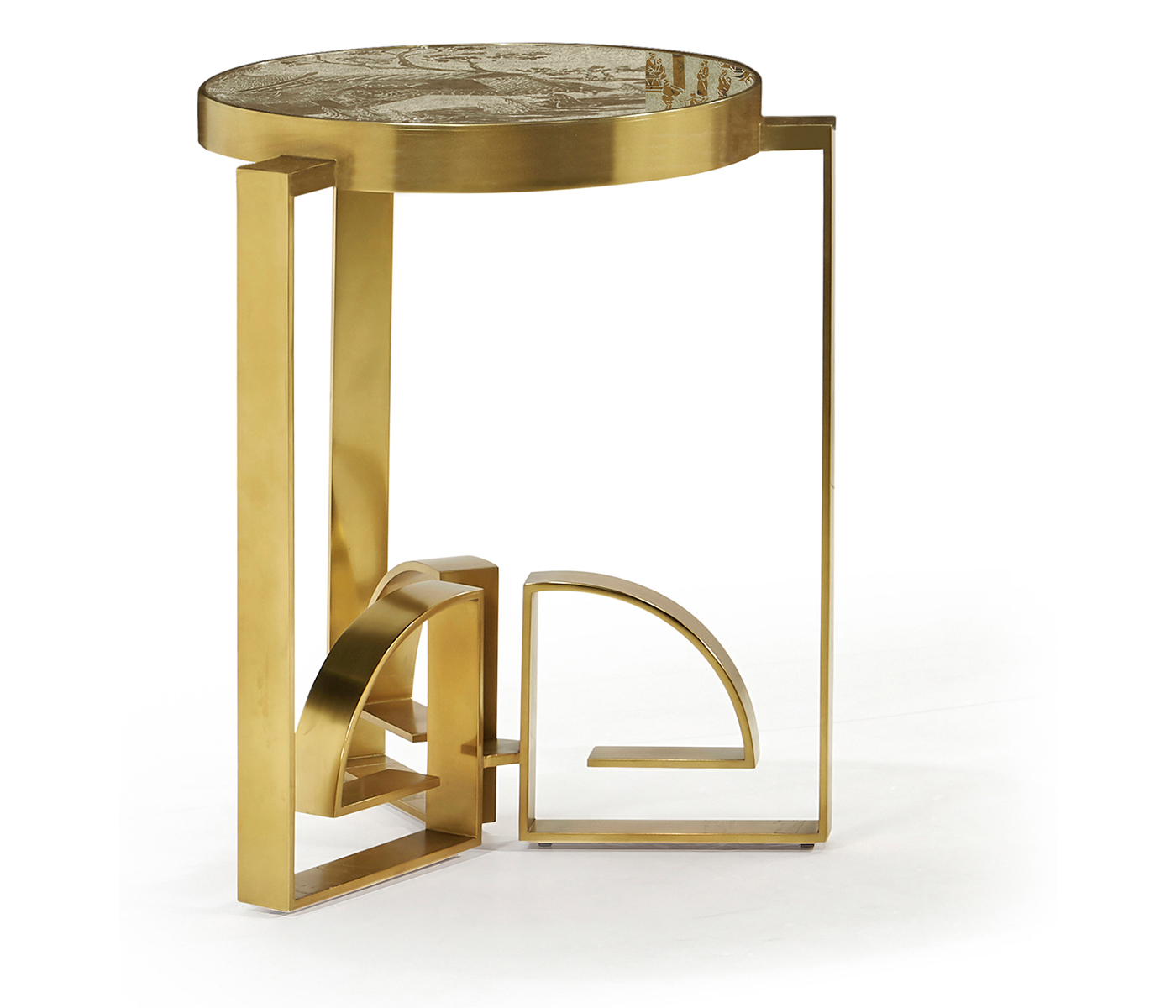 Small Base Only Of The Fusion Chinoiserie Antique Etched Brass Dining Table
