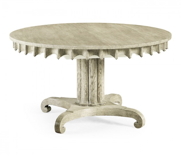 """Longwood 54"""" Round–to–Oval Grey Oak Dining Table"""