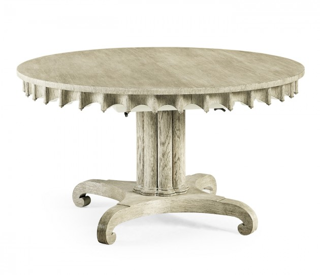 "Longwood 54"" Round–to–Oval Grey Oak Dining Table"
