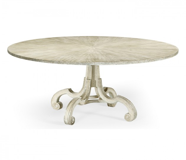 """Lacock 70"""" Venetian White Oak Dining Table with Silver Gilding"""
