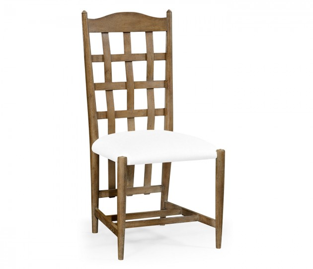 Tarvin Vintage Oak Side Chair, Upholstered in COM
