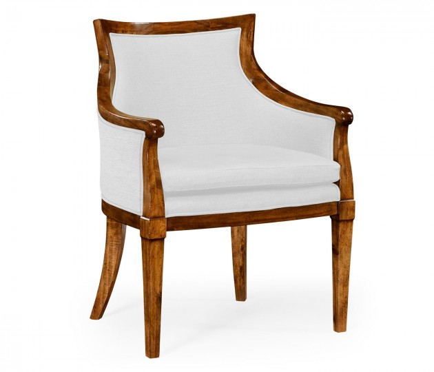 Belton Grey Fruitwood Armchair, Upholstered in COM