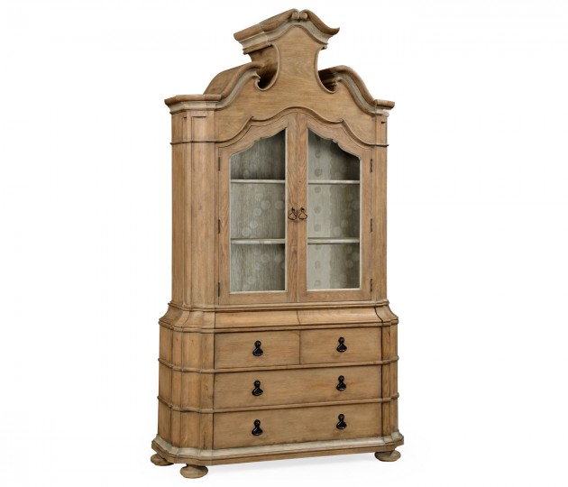 Oulton Vintage Oak Cabinet with Glass Doors & Wooden Shelves