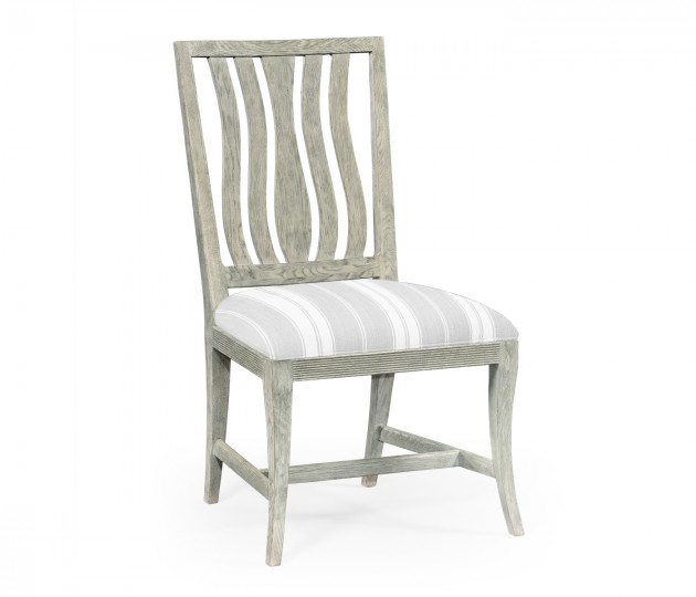 Eva Cloudy Oak Dining Side Chair, Upholstered in COM
