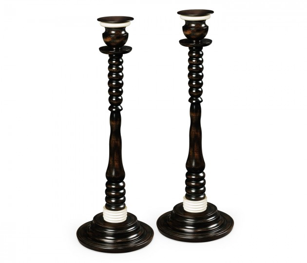 A Pair of Charcoal & White Candlesticks